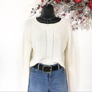 🎁Cropped Cream Crew Neck Long Sleeve Sweater Sz S